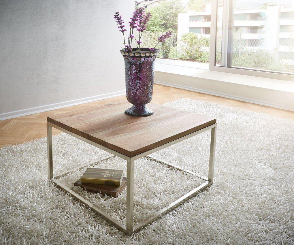 Couchtisch Tatius 60X60Cm Sheesham Natur Edelstahl Möbel Tische von Sheesham Couchtisch 60X60 Photo