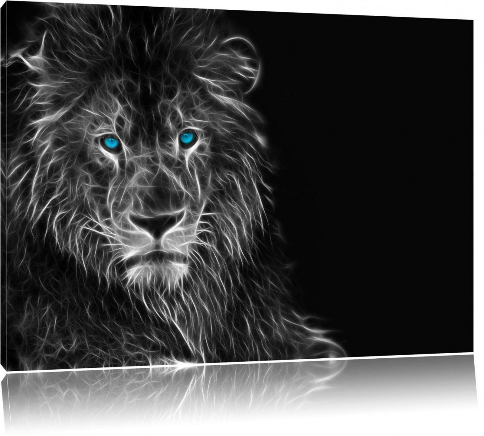 Dark Abstrakter Löwe Schwarzweiß Leinwandbild  Tiere von Gemalte Bilder Schwarz Weiß Photo