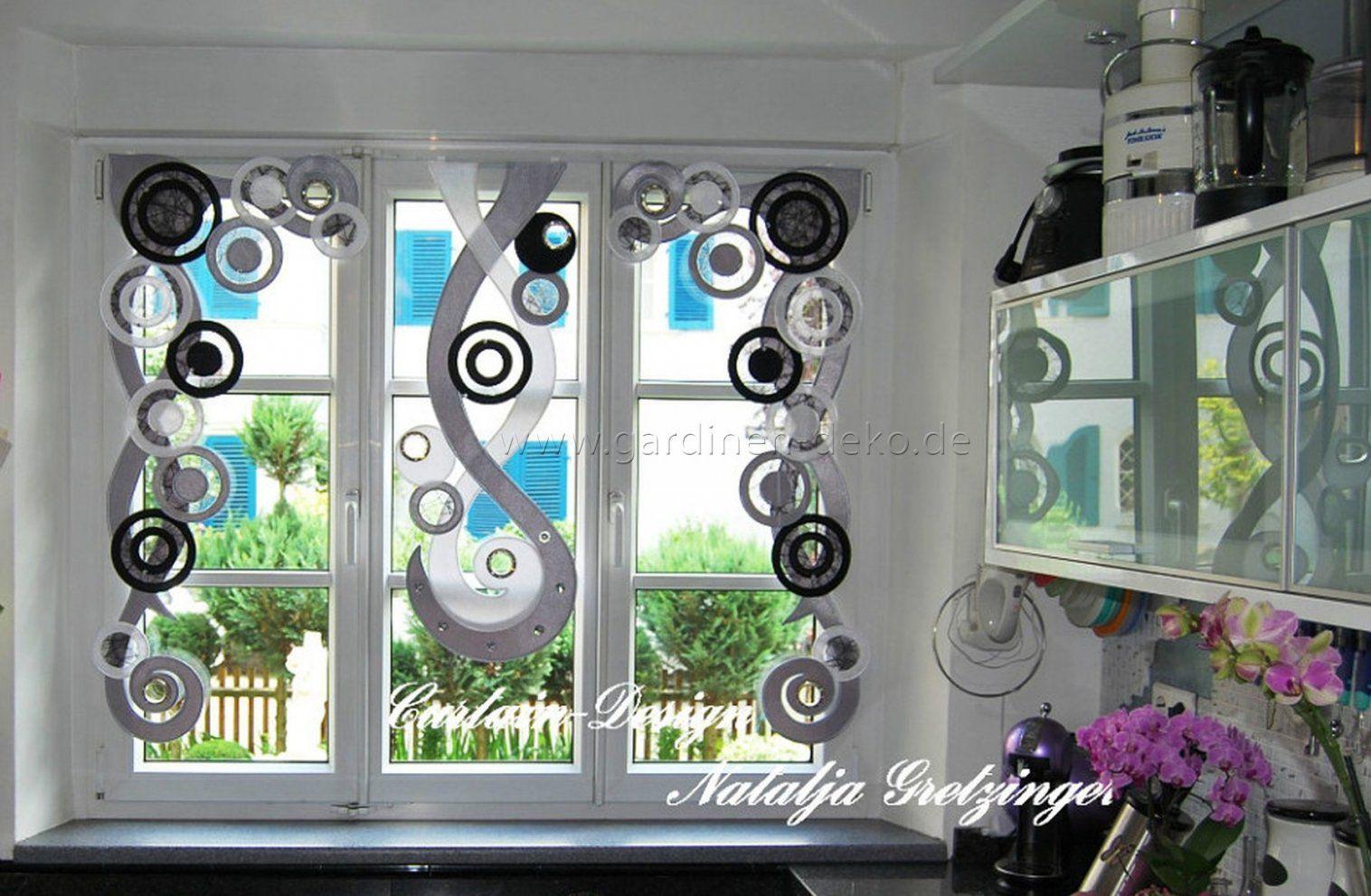 Deko Vorhang In Schwarzgrau Für Die Küche  Gardinendeko von Gardinen Schwarz Weiß Grau Photo