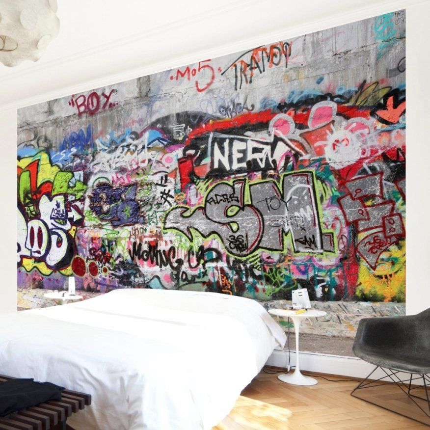 wundersch ne inspiration graffiti tapete selbst gestalten. Black Bedroom Furniture Sets. Home Design Ideas