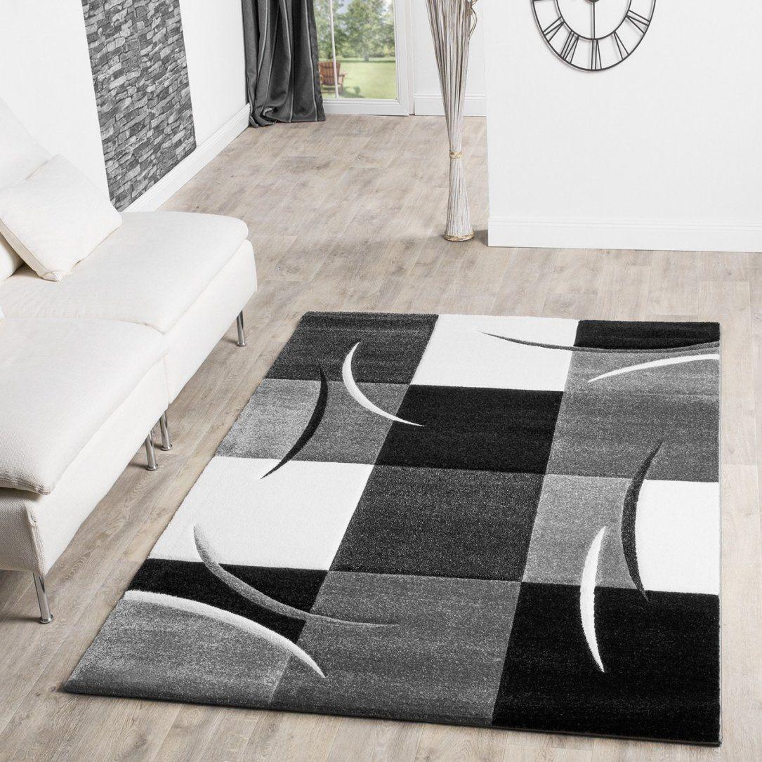 Designer Glitzer Wohnzimmer Teppich Schwarzweiss Innerhalb Teppich von Wohnzimmer Teppich Schwarz Weiß Bild