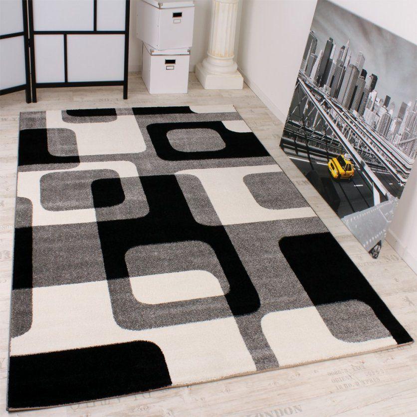 Designer Teppich In Grau Schwarz Weiss Retro Design Top Qualität Zum von Wohnzimmer Teppich Schwarz Weiß Photo