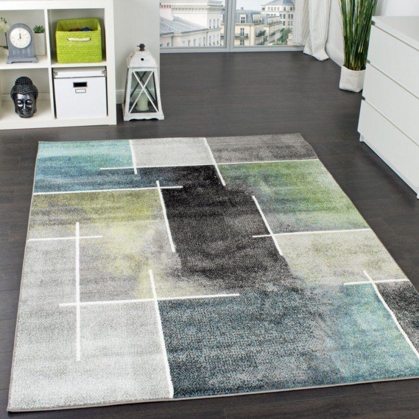 Designer Teppich Kariert Modern Trendig Meliert Eyecatcher In Grau von Teppich Grün Türkis Blau Bild