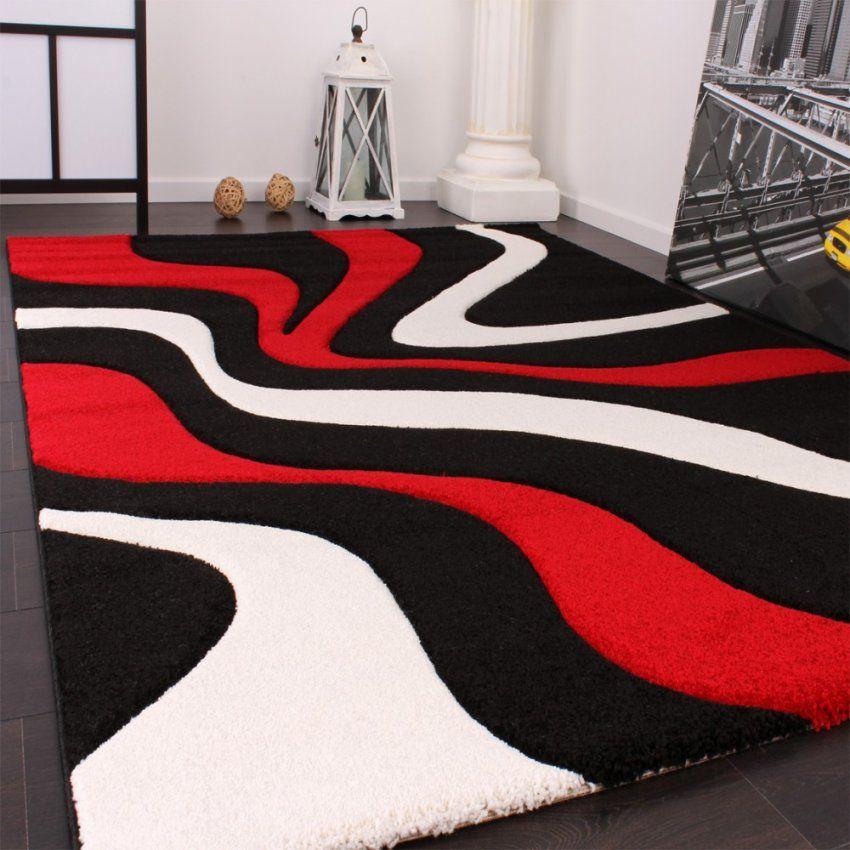 Designer Teppich Mit Konturenschnitt Wellen Muster Rot Schwarz Weiss von Wohnzimmer Teppich Schwarz Weiß Photo