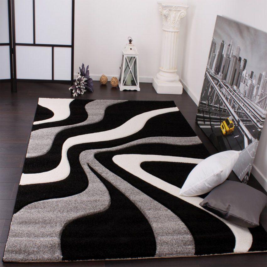 Designer Teppich Mit Konturenschnitt Wellen Muster Schwarz Grau von Wohnzimmer Teppich Schwarz Weiß Photo