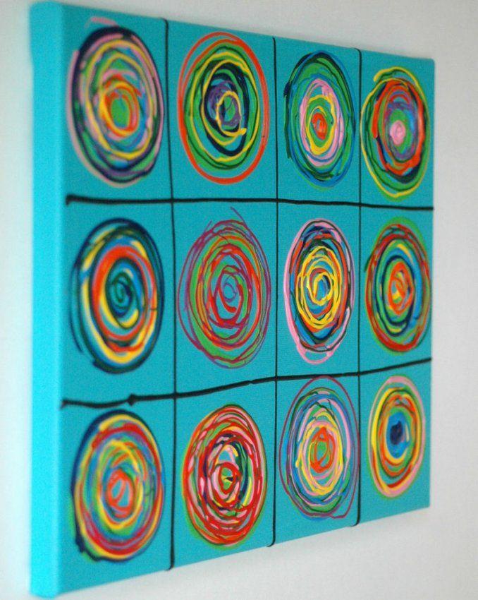 Details Zu Acryl Kunst Auf Leinwand Pop Art Abstrakt Bild Gemälde von Gemalte Bilder Auf Leinwand Abstrakt Photo