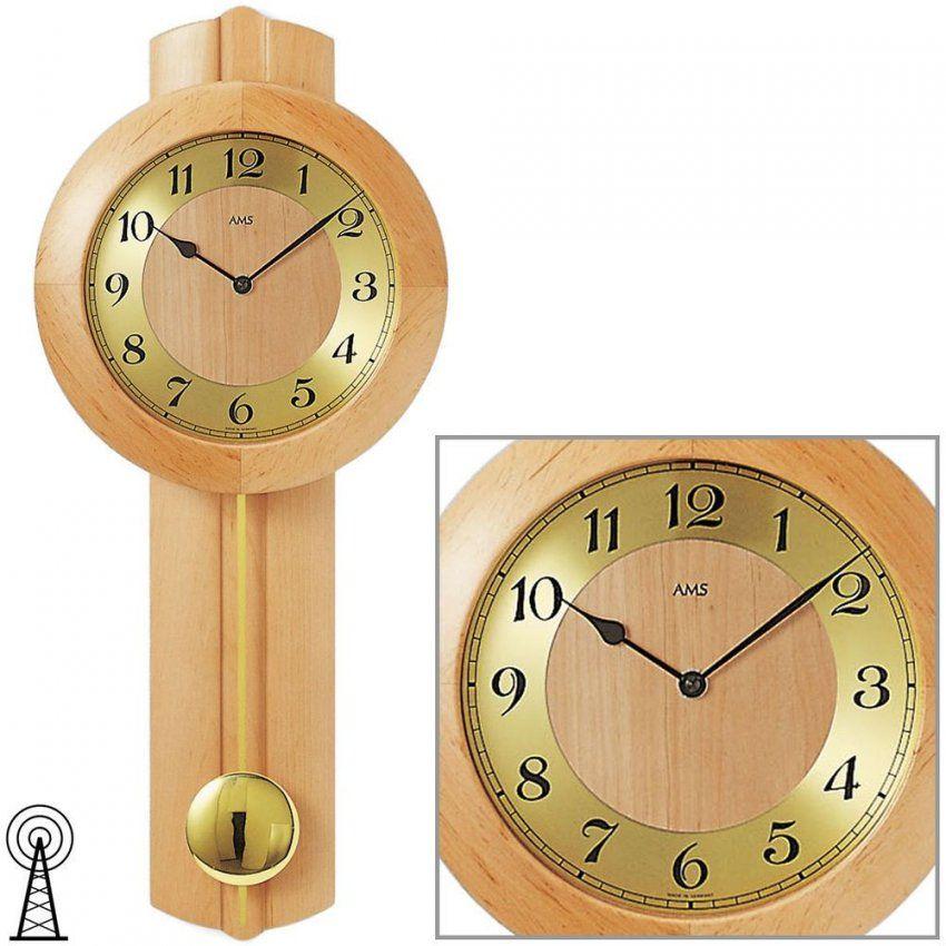 Details Zu Ams 516516 Wanduhr Funk Funkwanduhr Mit Pendel Holz Erle von Wohnzimmer Uhren Mit Pendel Bild