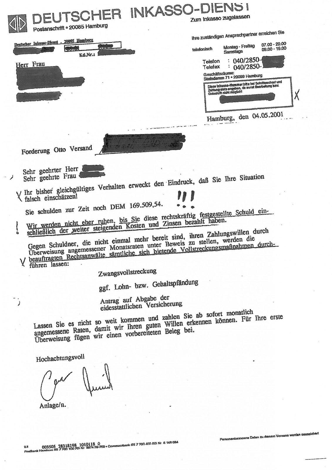 Deutscher Inkassodienst & Otto  Ottoshopgeschädigte Info Zum von Deutscher Inkasso Dienst Otto Bild