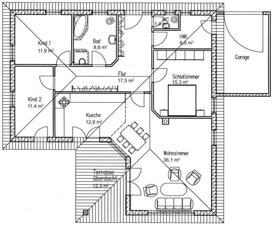 diesel sparen traum haus bauen winkel bungalows avec grundriss von grundriss bungalow 120 qm mit. Black Bedroom Furniture Sets. Home Design Ideas