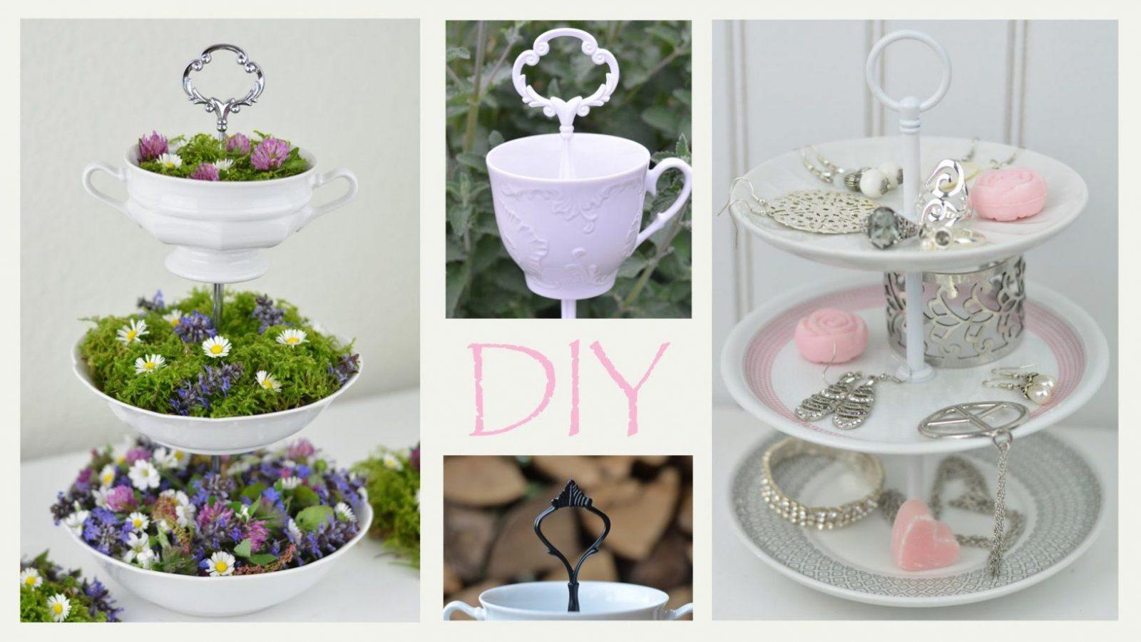 Diy  Etagere Aus Altem Geschirr Selbermachen Romantische Deko von Shabby Chic Deko Ideen Selbermachen Bild