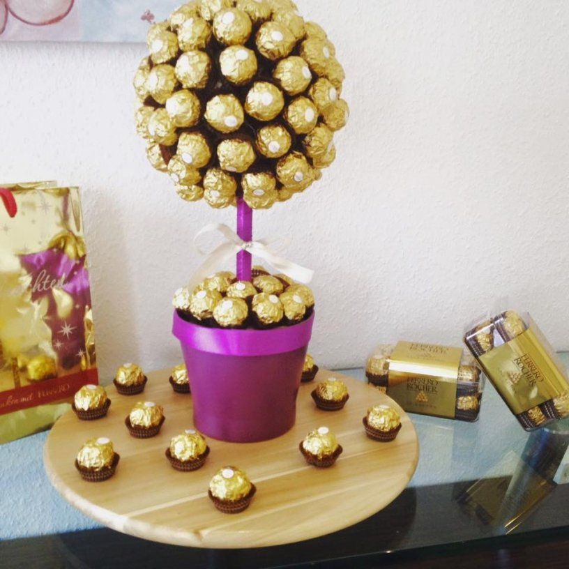 Diy Ferrero Rocher Strauß Ganz Einfach Und Eindrucksvoll Zum Selber von Rocher Baum Basteln Anleitung Photo