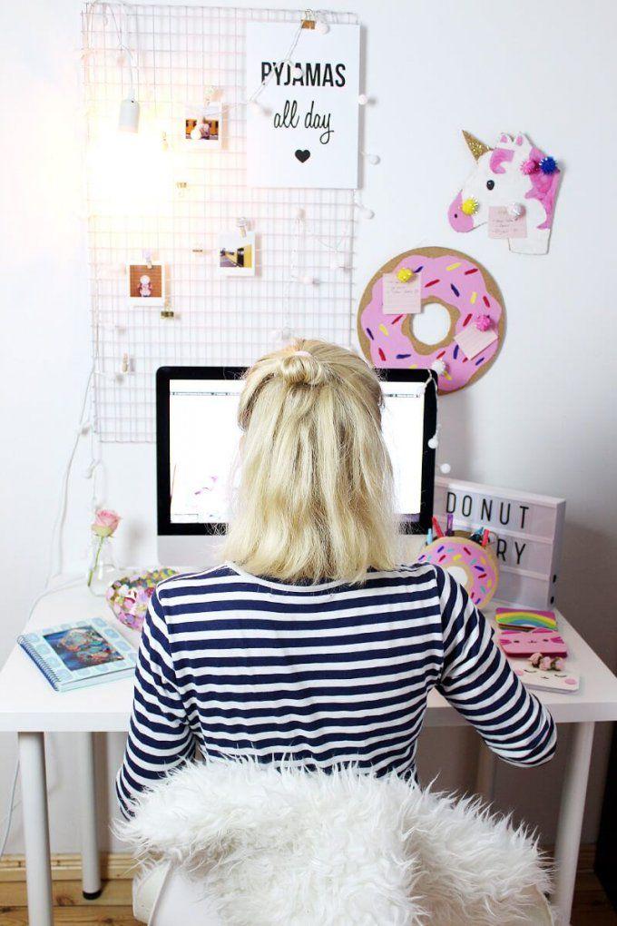 Diy Fotowand Selber Machen & Schreibtisch Deko Basteln  Room Decor von Schreibtisch Deko Selber Machen Photo