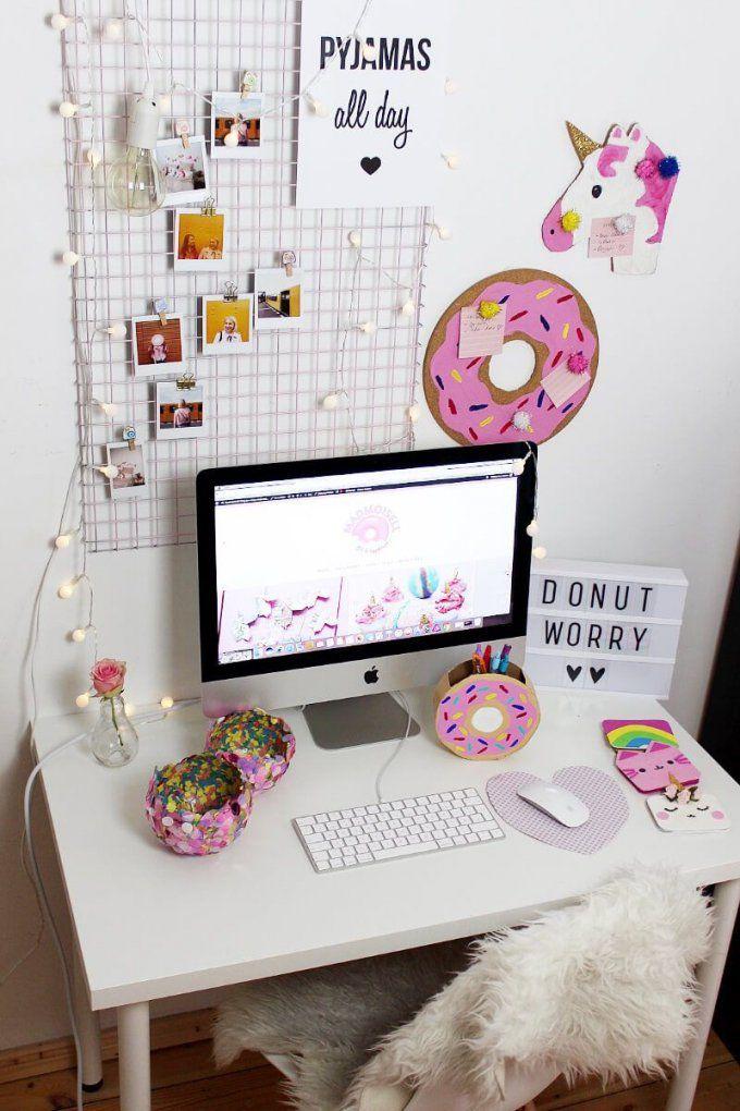 Diy Fotowand Selber Machen & Schreibtisch Deko Basteln von Schreibtisch Deko Selber Machen Bild