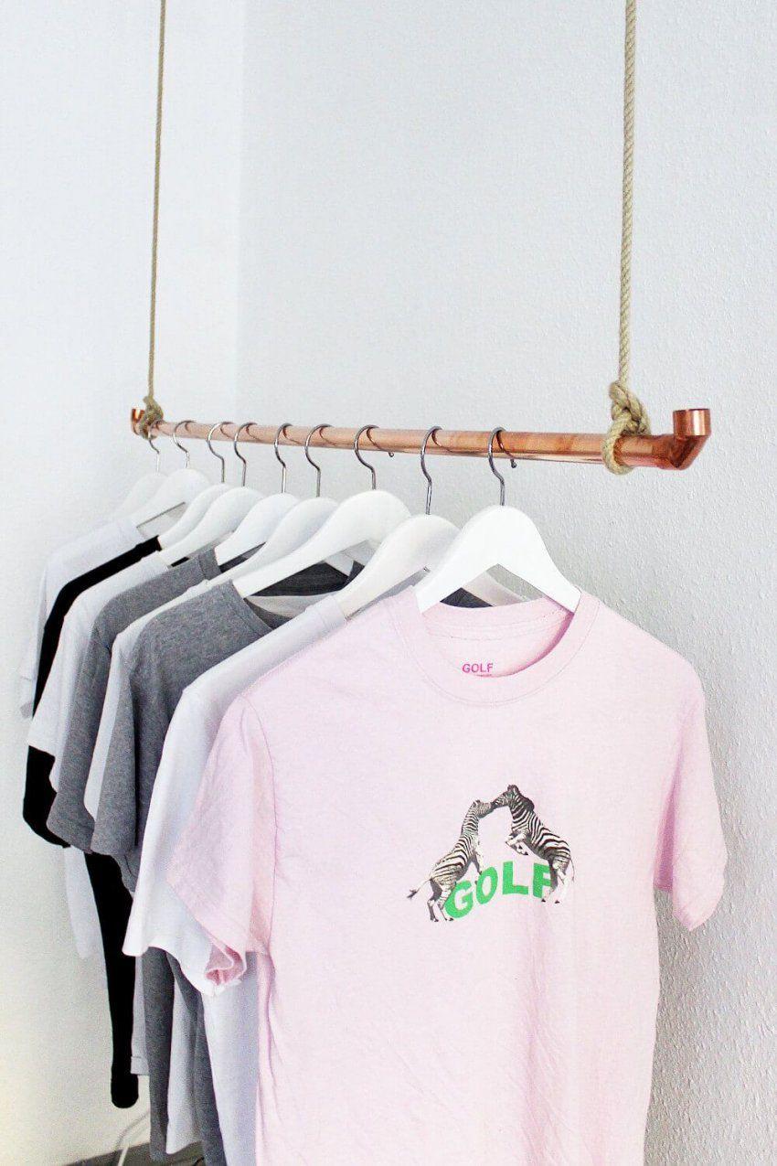 diy kleiderstange aus kupferrohr selber bauen diy kleiderstange von kleiderst nder aus rohren. Black Bedroom Furniture Sets. Home Design Ideas
