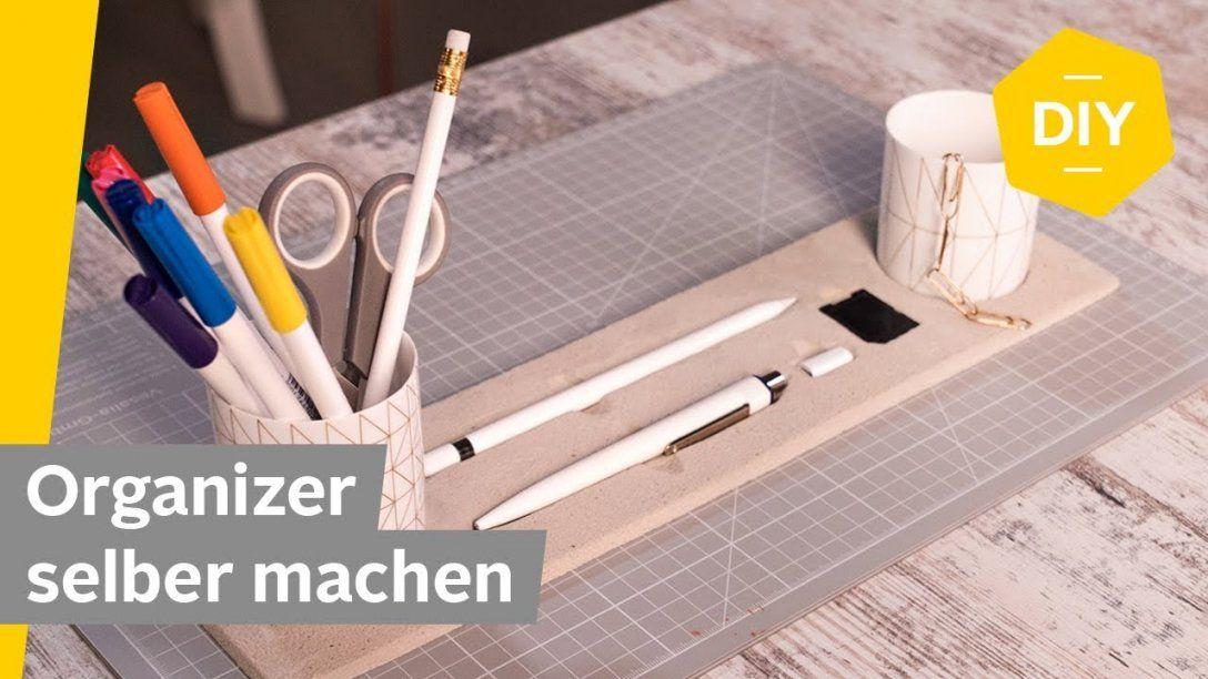 Diy Schreibtisch Organizer Aus Knetbeton Selber Machen  Roombeez von Schreibtisch Organizer Selber Machen Bild