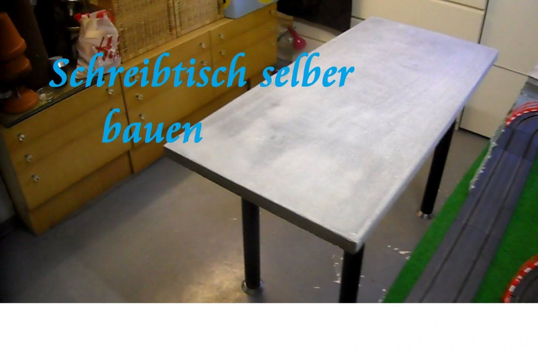 Diy Tisch Aus Paletten Und Beton Selber Bauen Beton Schreibtisch von Tisch Aus Arbeitsplatte Bauen Bild