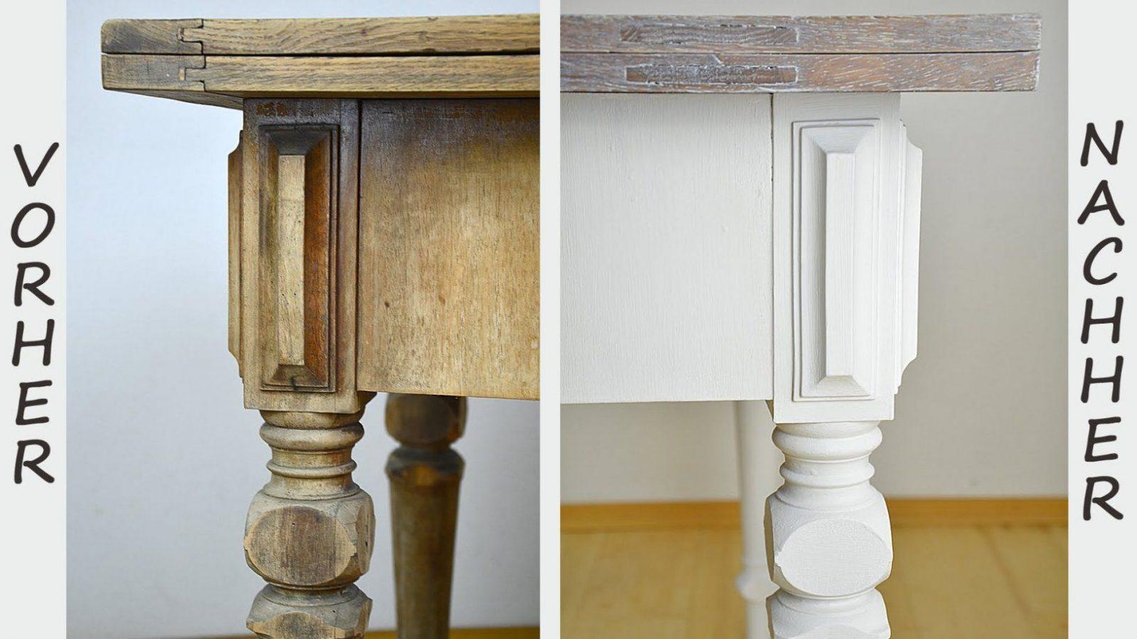 Diy  Tisch Im Shabby Chic Stil Streichenwisch Oder Lasurtechnik von Möbel Streichen Ohne Schleifen Bild