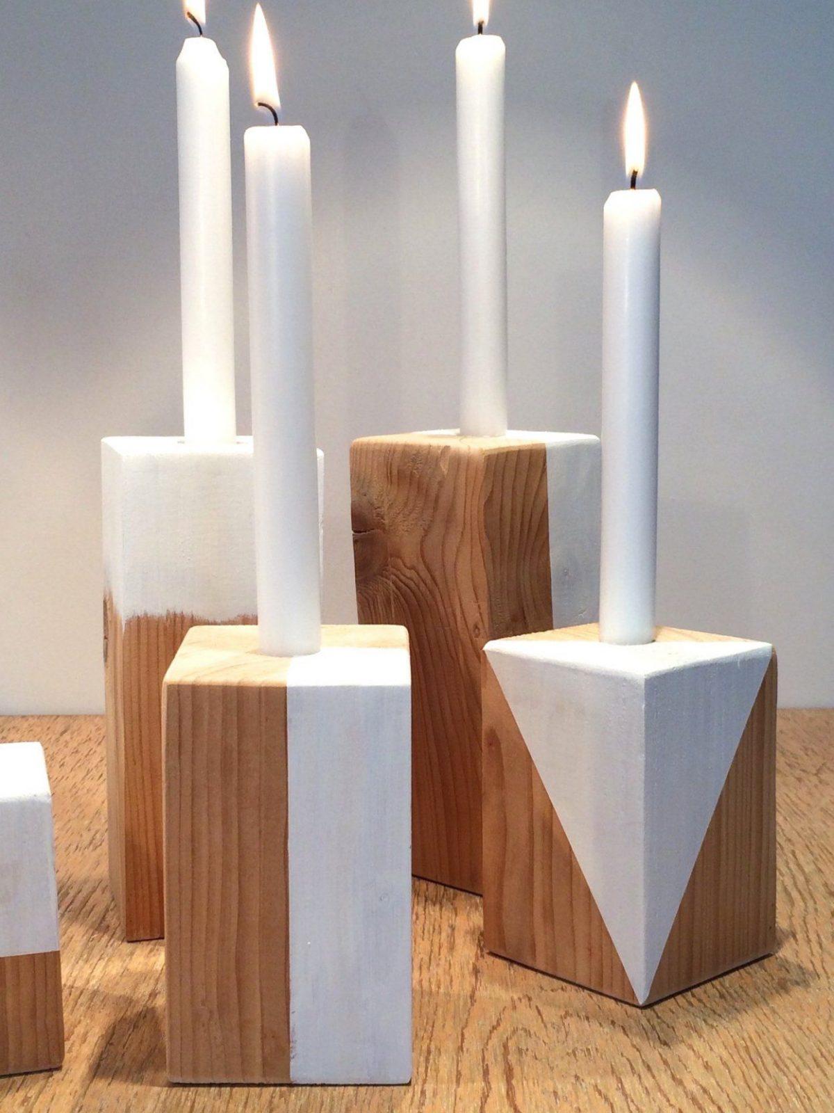 Diy Trendige Kerzenständer Aus Holz Selbst Herstellen Und Avec von Kerzenständer Selber Machen Holz Bild