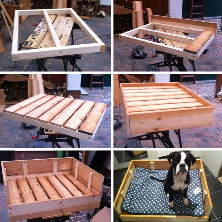 Diyfreutag} Hundebett Aus Holz Selber Bauen  Dog Dog Houses And von Hundebett Holz Selber Bauen Bild