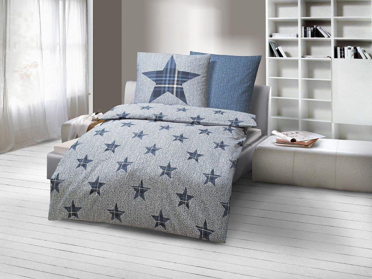 Dobnig Biberbettwäsche Sterne Silber Jeansblau  Lidl Deutschland von Lidl Biber Bettwäsche Bild