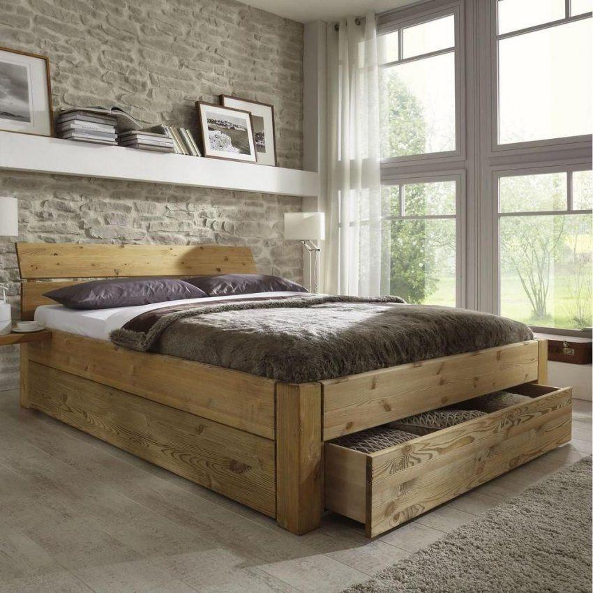 Doppelbett Bett Gestell Mit Schubladen 180X200 Kiefer Massiv Holz von Doppelbett Kiefer Massiv 180X200 Photo