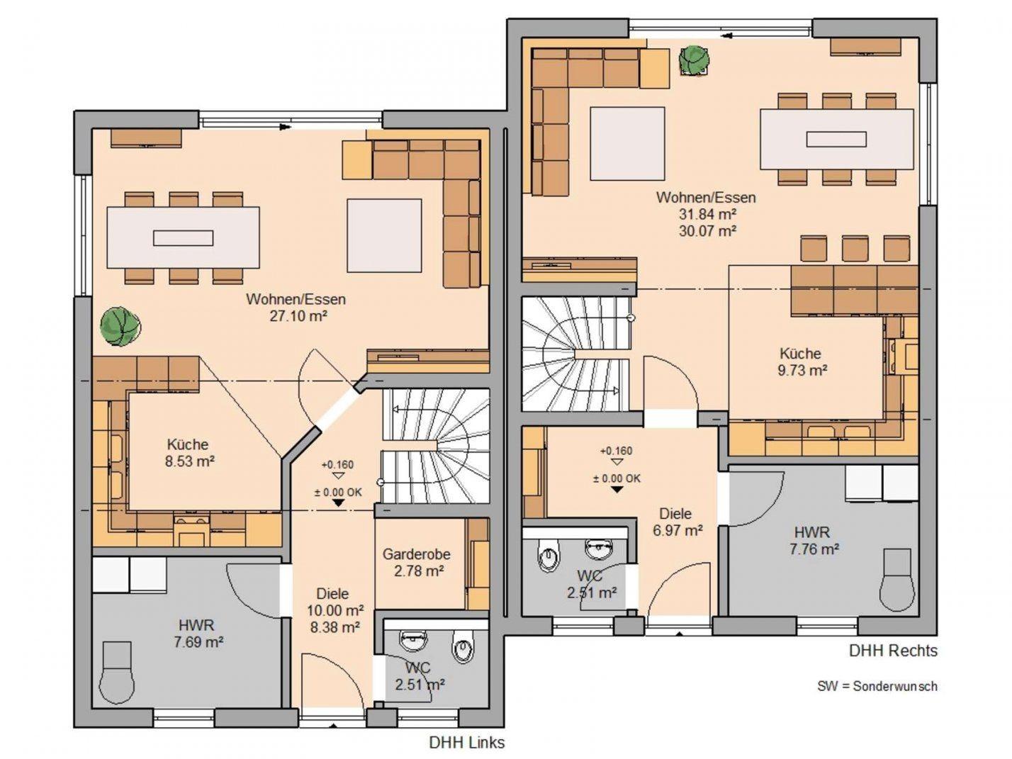 Doppelhaus Twin L Von Kernhaus  Ideal Für Kleine Grundstücke von Doppelhaus Grundriss Eingang Seitlich Bild