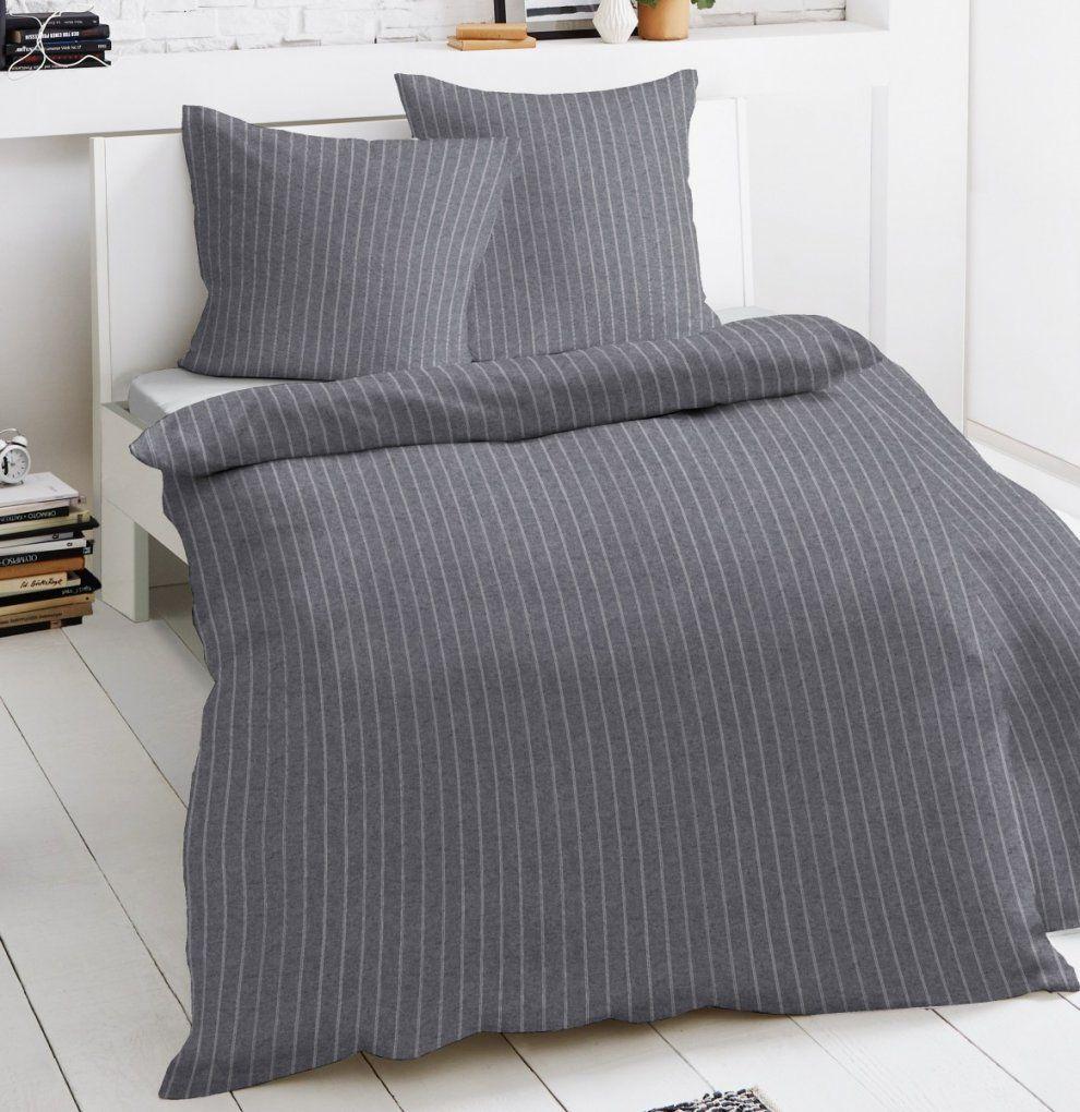 Dormisette Melange Flanell Bettwäsche 135X200Cm 2 Tlg Streifen von Dormisette Feinbiber Bettwäsche Bild