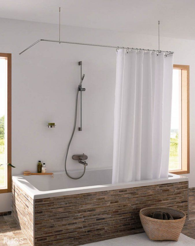 Duschvorhangstange Aus Edelstahl (Cns) Für Badewanne + Dusche von Duschvorhang Für Badewanne Ohne Bohren Photo