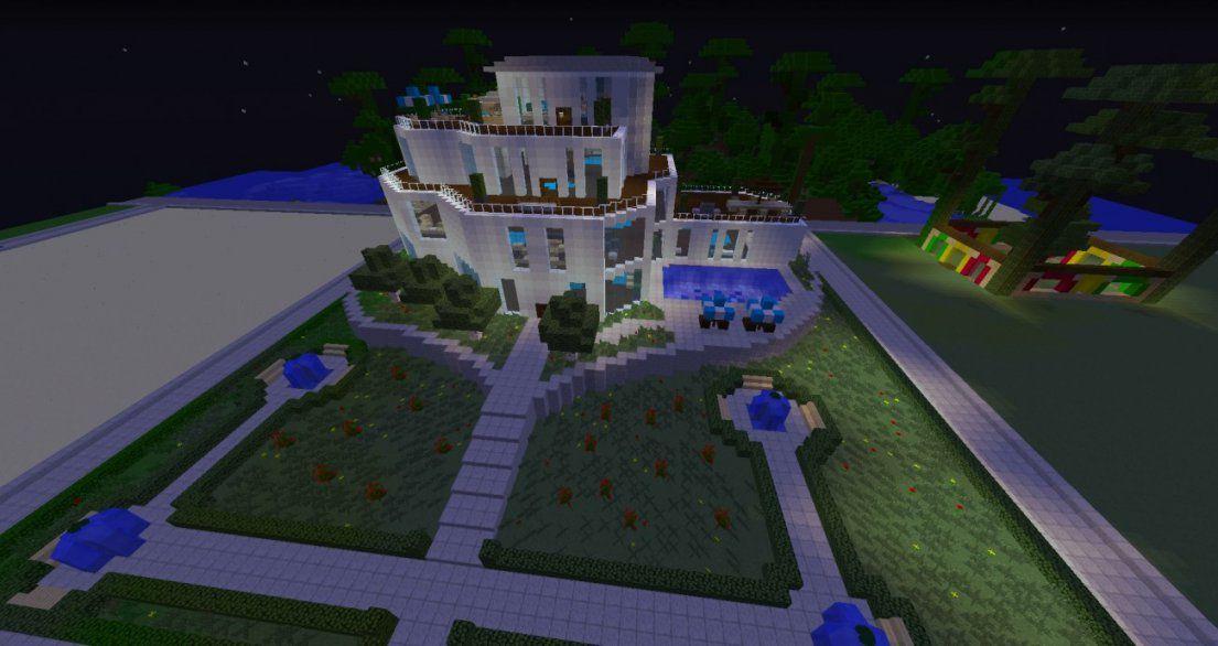 ᐅ Villa Mit Vorgarten Und Pool In Minecraft Bauen  Minecraft von Minecraft Villa Bauen Anleitung Photo