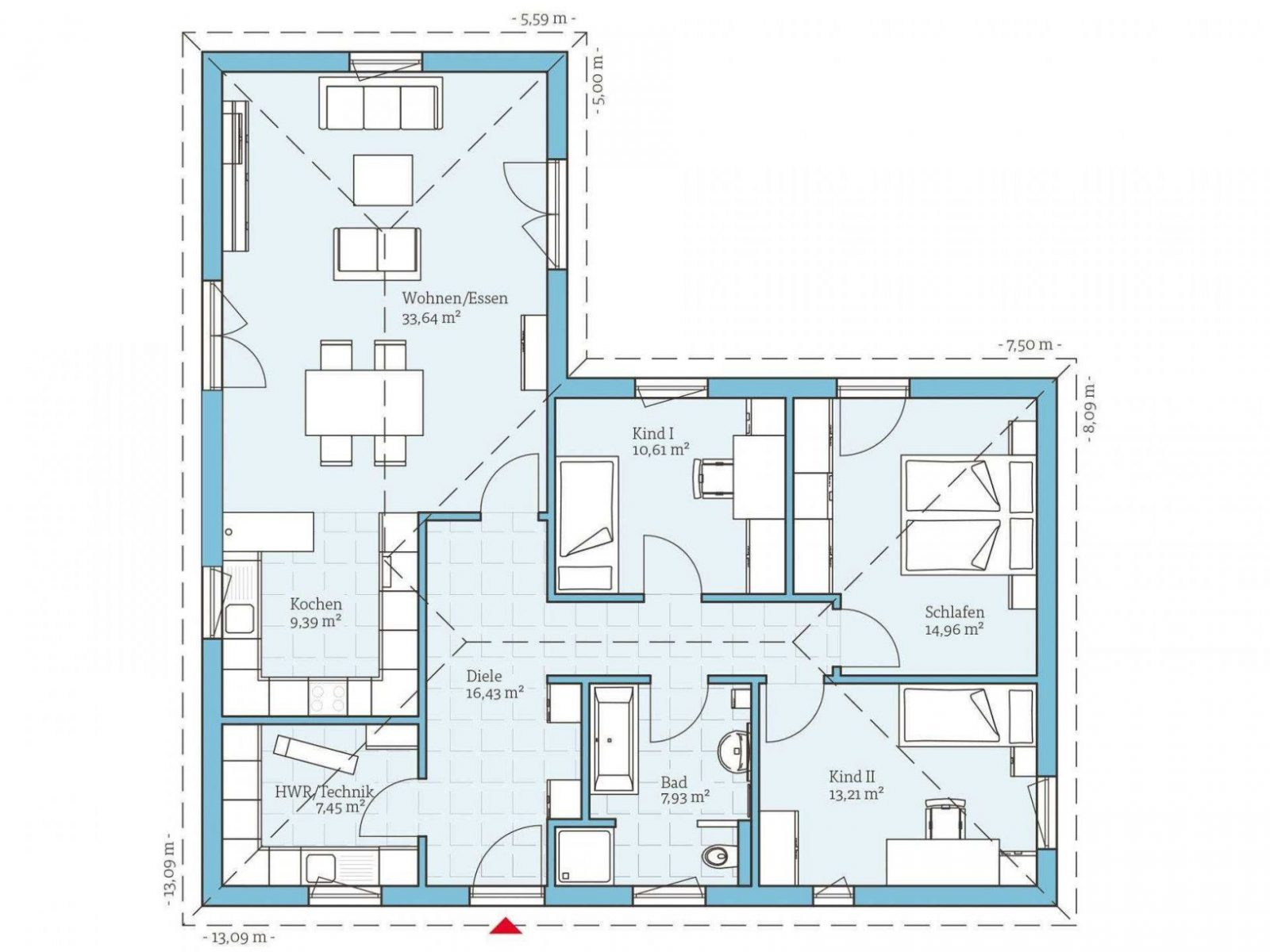 ▷ Bungalow Bauen  Anbieter Preise & Grundrisse Im Überblick von Bungalow L Form Grundriss Photo
