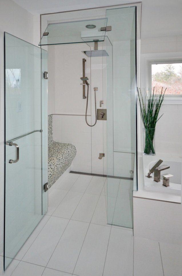Ebenerdige Dusche In 55 Attraktiven Modernen Badezimmern von Begehbare Dusche Mit Sitzbank Bild
