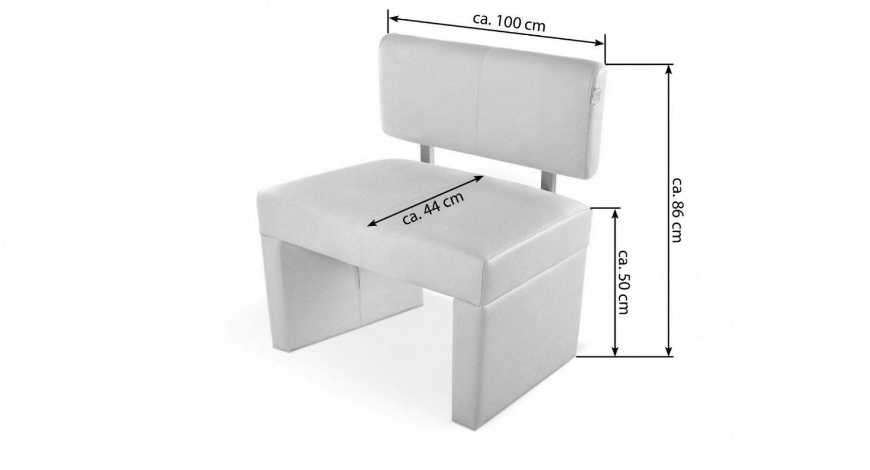 Echtleder Sitzbank 100 Cm Mit Rückenlehne In Creme Samuele von Sitzbank Mit Lehne 100 Cm Photo