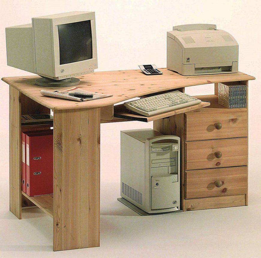 Eckschreibtisch 133X73X95Cm 3 Schubladen Tastaturauszug Kiefer von Computertisch Kiefer Gelaugt Geölt Photo