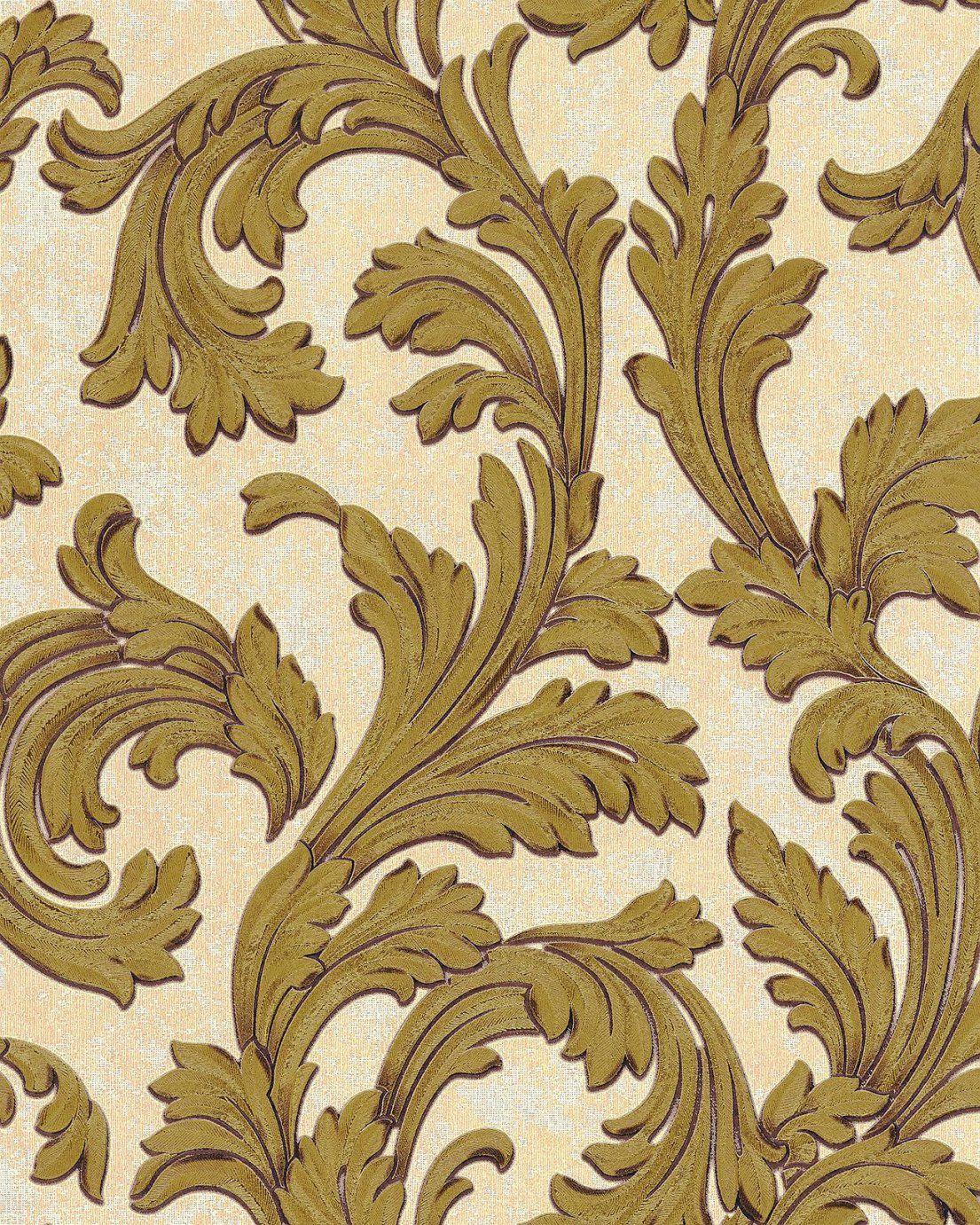 Edem 103211 Barock Tapete Ornament Glitzernd Elfenbein Weiß Gold 5 von Barock Tapete Weiß Gold Photo