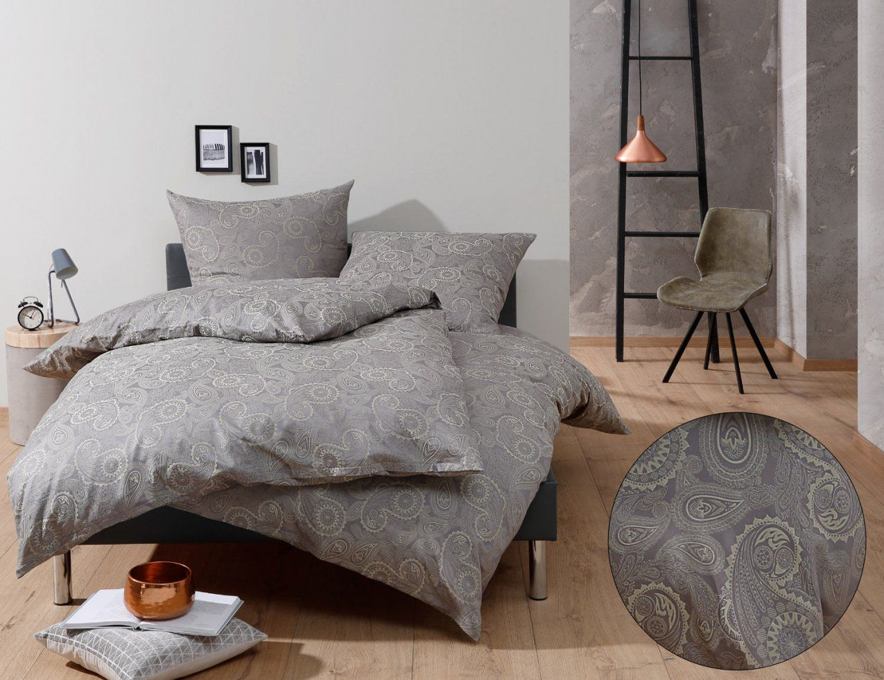 Edle Mako Satin Damast Paisley Bettwäsche 100% Baumwolle Viele von Amerikanische Bettwäsche Größen Bild