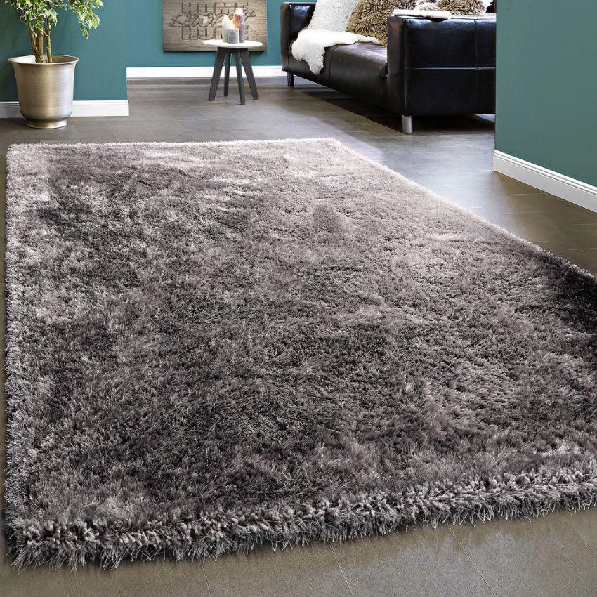 Edler Teppich Shaggy Hochflor Einfarbig Flauschig Glänzend In Grau von Hochflor Teppich Grau 160X230 Photo