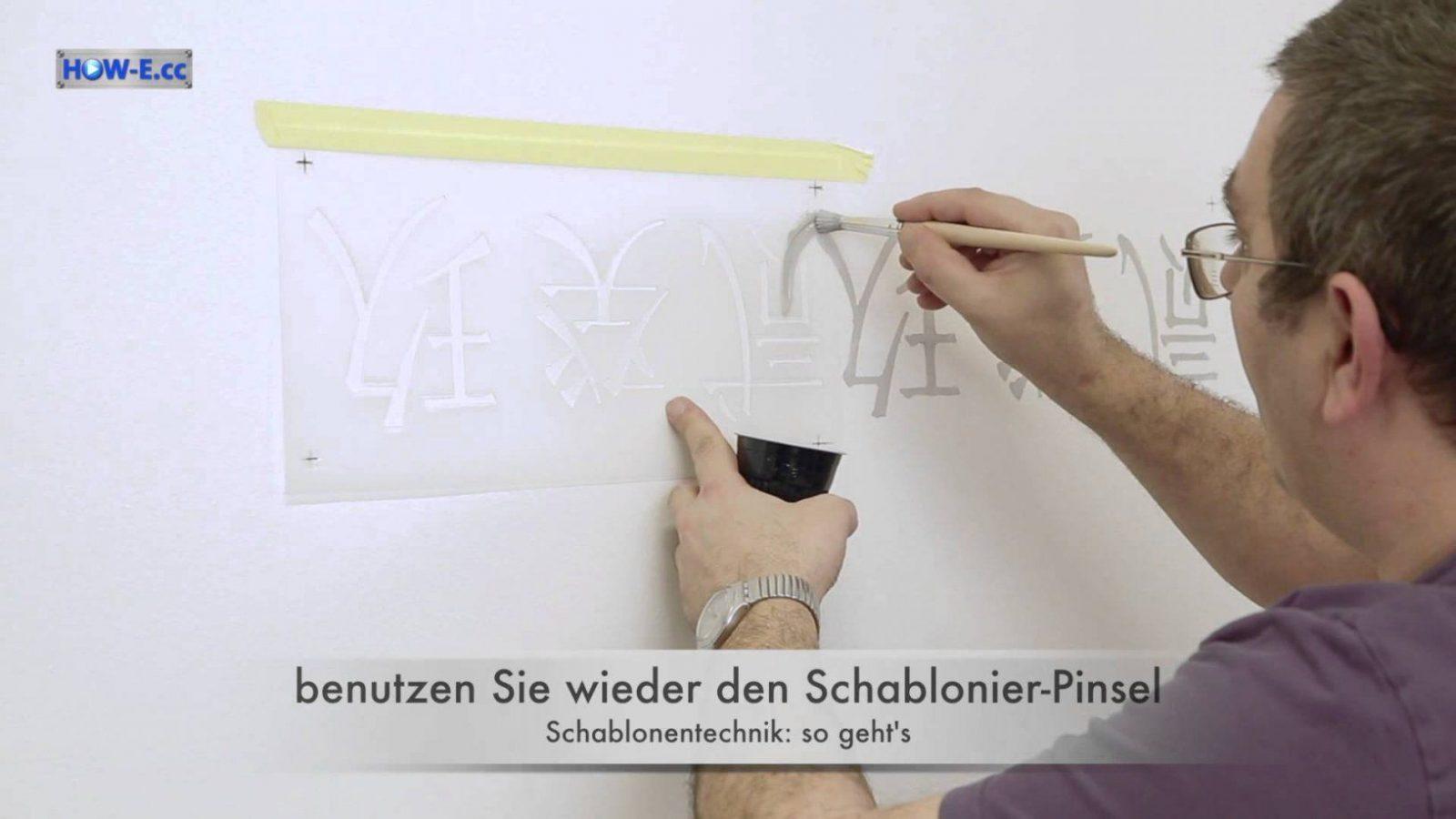 Effektmalen Schablonentechnik  So Geht's Teil3  Youtube von Wandtattoo Selber Malen Vorlagen Bild