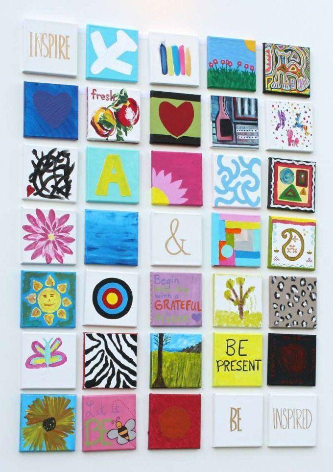 Ein Leinwandpatchwork Mit Den Kindern Gestalten  Diy  Pinterest von Leinwand Mit Kindern Gestalten Bild