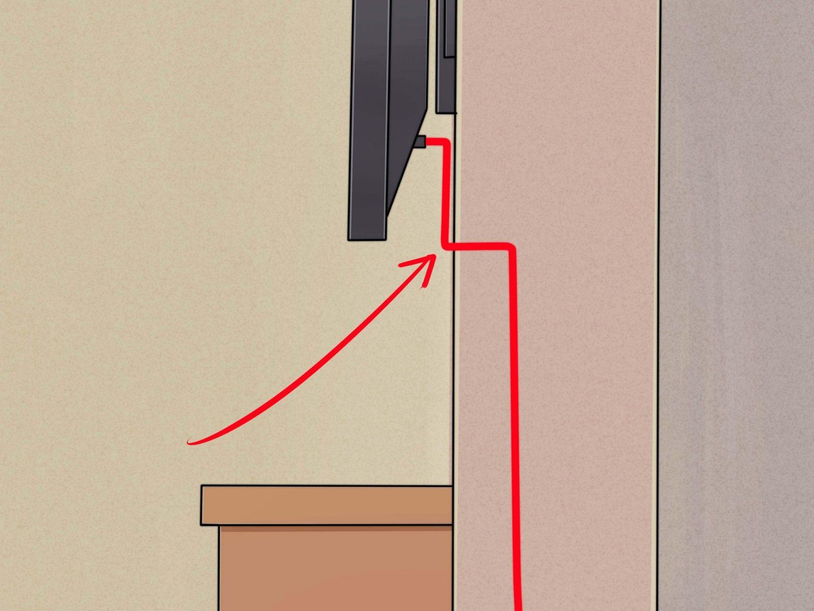 Einen Flachbildfernseher Ohne Sichtbare Kabel An Die Wand Montieren von Tv Aufhängen Kabel Verstecken Bild