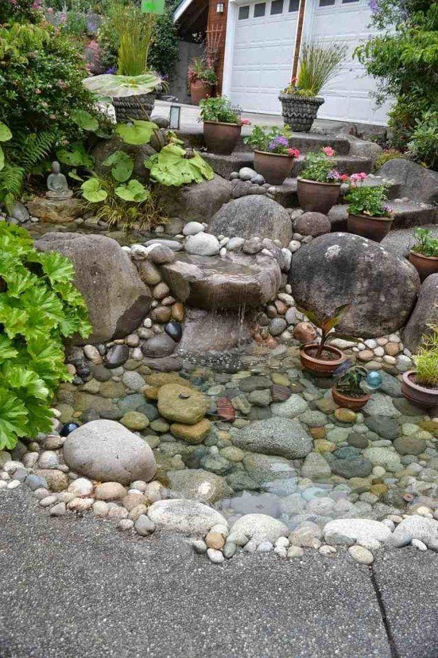 Einen Steingarten An Einem Hang Anlegen Und Mit Teich Kombinieren von Gartengestaltung Mit Steinen Am Hang Bild