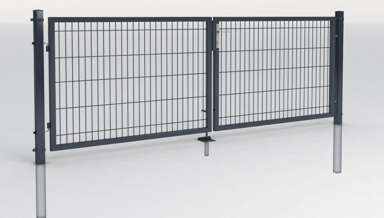 Einfahrtstor 2 Flg Toranlage 3M Breit Mit Gitterfüllung Zauntor Tor von Gartentor 2 M Breit Bild