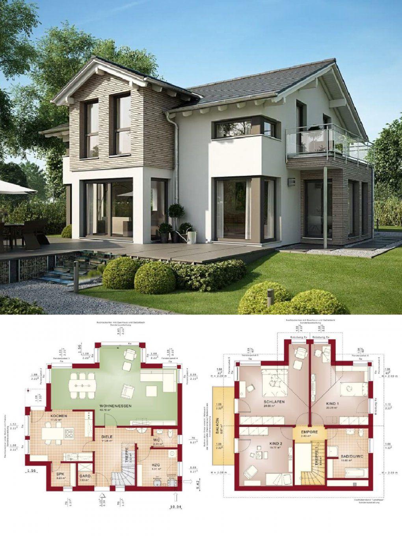 Einfamilienhaus Modern Mit Satteldacharchitektur Und Erker Anbau von Bien Zenker Evolution 154 Photo