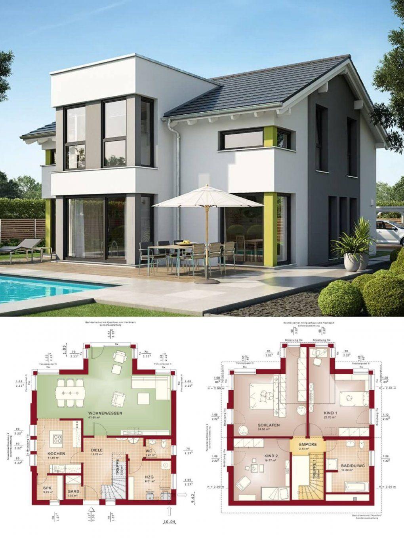 Einfamilienhaus Neubau Modern Mit Satteldach & Querhaus  Haus Bauen von Bien Zenker Evolution 154 Photo