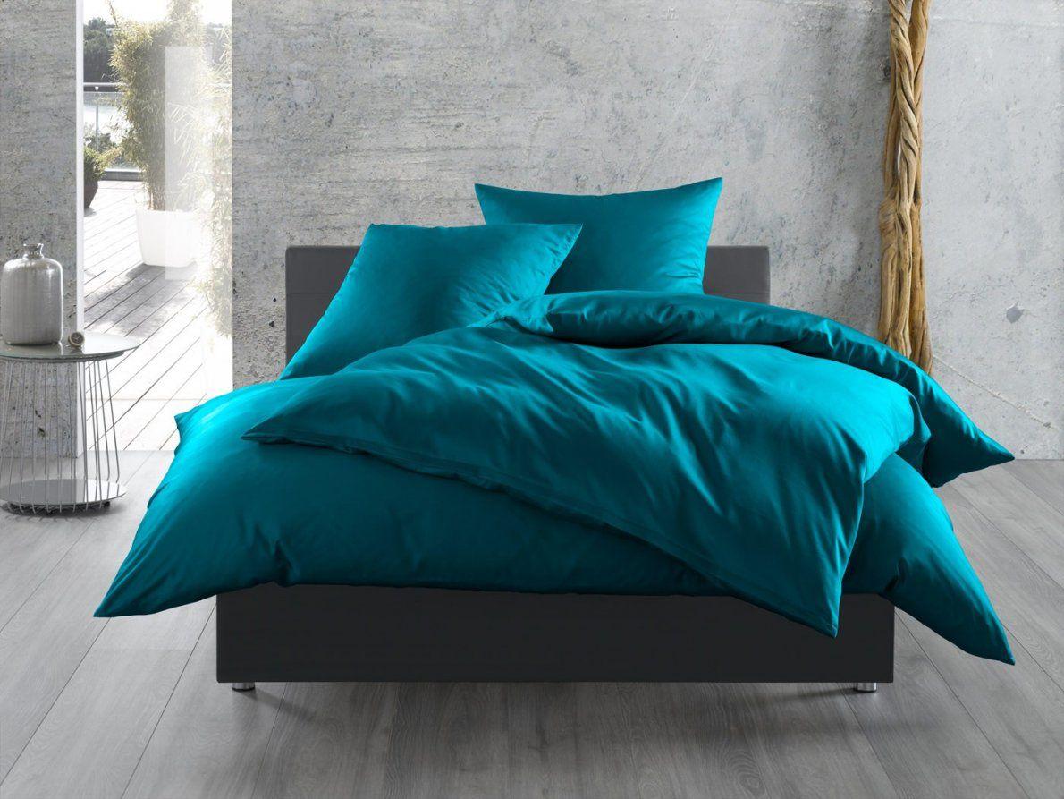 Einfarbige Bettwäsche Petrolblau  Bettwaeschemitstil von Bettwäsche 200X200 Blau Bild