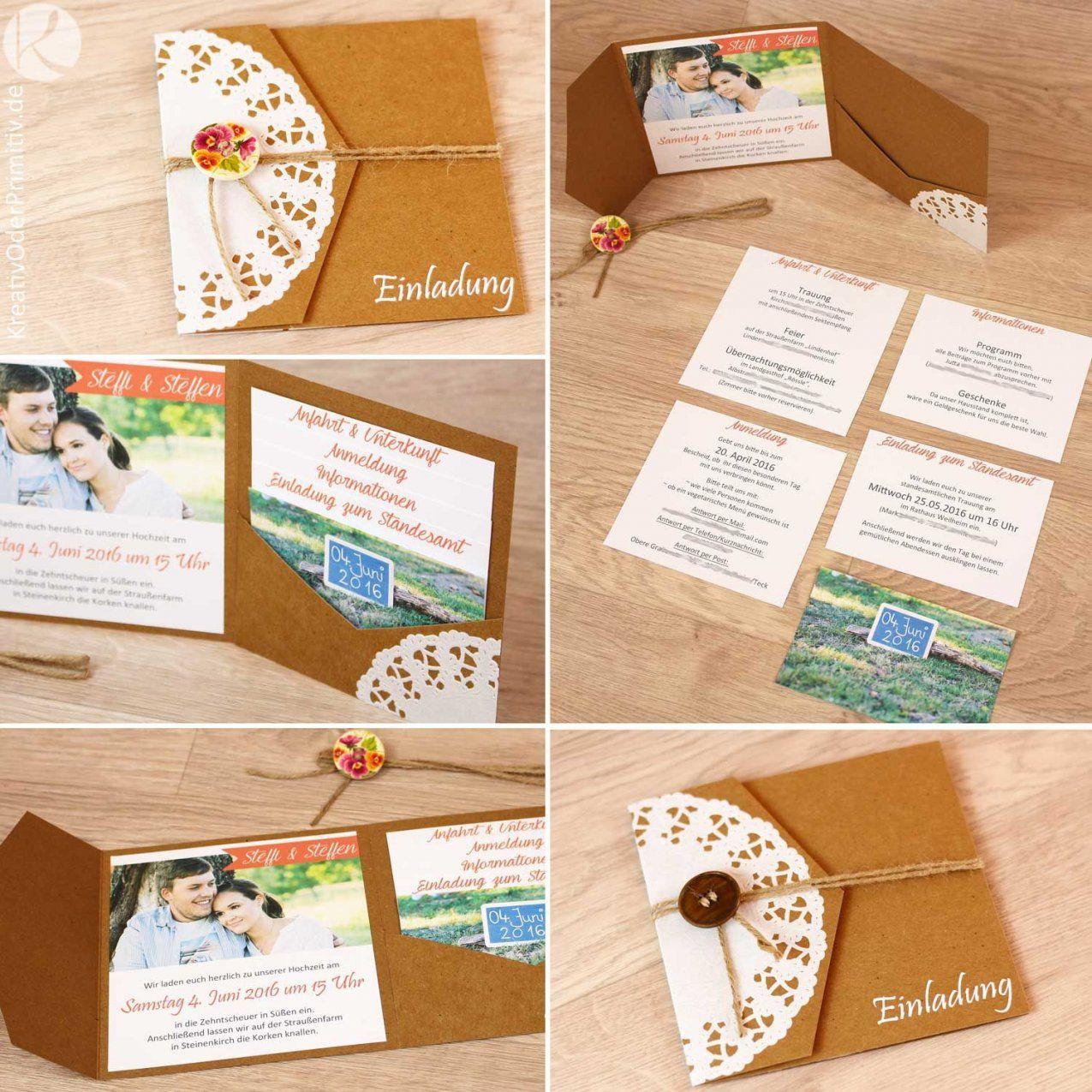 Einladung Hochzeitseinladung Hochzeit Karte Kraftpapier Vintage von Save The Date Karten Basteln Bild
