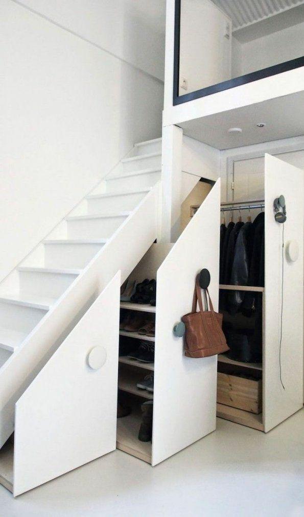 Einrichtungsideen Wohnideen Flur Untertreppenraum Ausnutzen  Undir von Wohnideen Flur Mit Treppe Photo