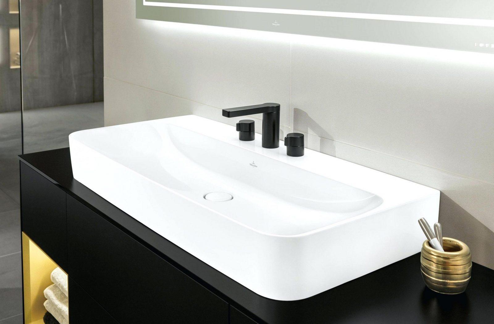 Elegant Doppeltes Waschbecken Einbau Rechteckig Keramik Venticello von Doppeltes Waschbecken Mit Unterschrank Photo