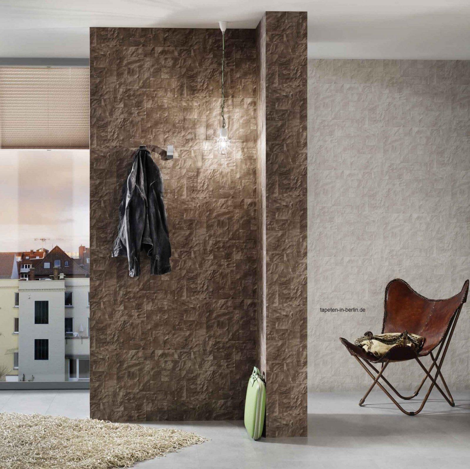 Elegant Steintapeten In 3D Optik Grau Beige Braun Wohnzimmer von Steintapeten In 3D Optik Bild