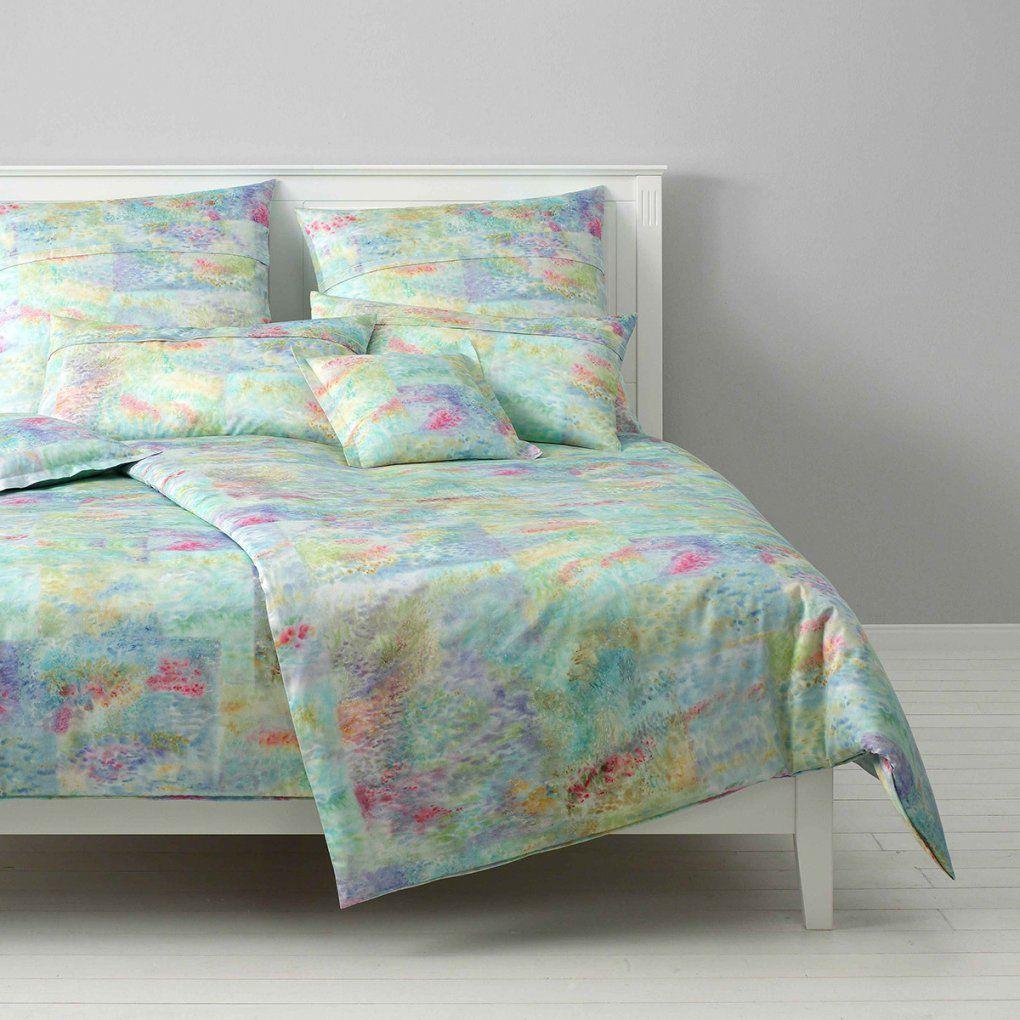 Elegante Makosatin Bettwäsche Monet Wiesengrün Günstig Online von Satin Bettwäsche Grün Bild
