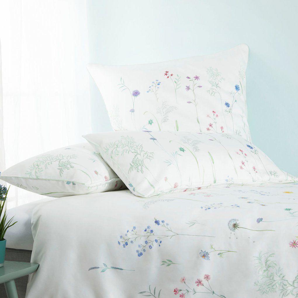 Elegante Makosatin Bettwäsche Wiesenblume Weiss Günstig Online von Elegante Bettwäsche Reduziert Bild